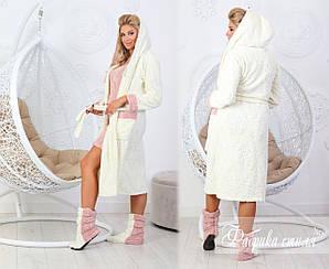 Набір халат з вшитим сарафаном+чобітки махрові