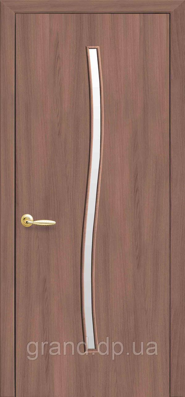 Межкомнатная дверь  Гармония Экошпон со стеклом сатин, цвет ольха 3D