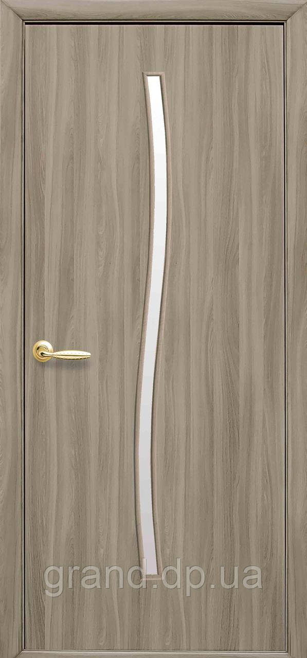 Межкомнатная дверь  Гармония Экошпон со стеклом сатин, цвет сандал