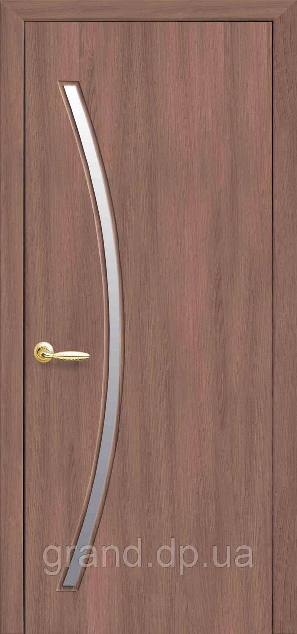 Межкомнатная дверь  Дива Экошпон со стеклом сатин, цвет ольха 3D