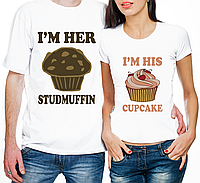 "Парные футболки ""I'm Her Studmuffin/I'm His Cupcake"" (частичная, или полная предоплата)"