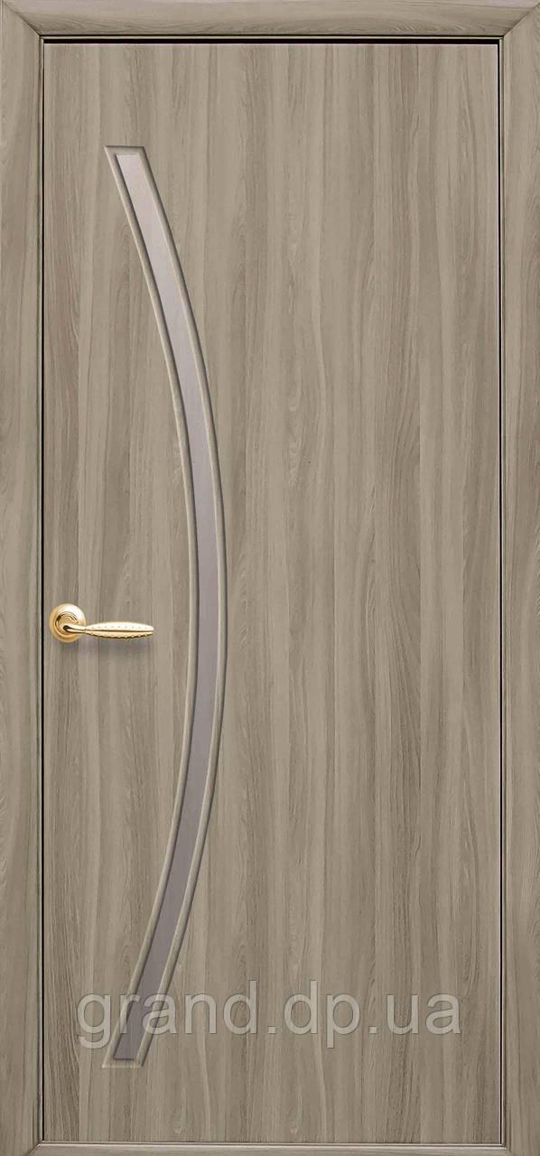 Межкомнатная дверь Дива Экошпон со стеклом сатин, цвет сандал