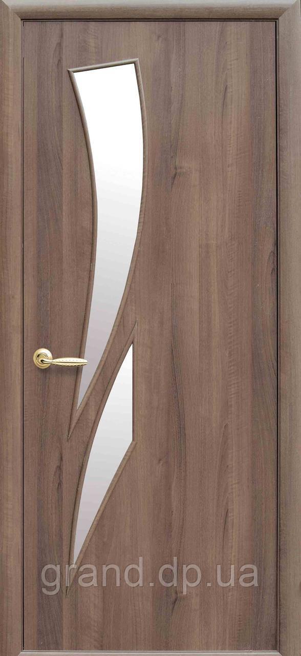 Межкомнатная дверь  Камея Экошпон со стеклом сатин, цвет ольха 3D