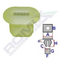 Кліпса кріплення облицювання тунелю в районі важеля ручного гальма DACIA/RENAULT/LADA Romix C60104