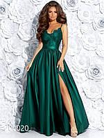 Длинное платье с разрезом из шелка и гипюра, 00020 (Зеленый), Размер 44 (M)