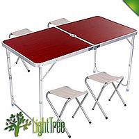 Стол для пикника и для выезда на природу усиленный с 4 стульями