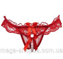 Женские эротические кружевные трусики с жемчужной полоской Красный