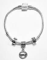 """Браслет в стиле Pandora """"DIABETIC"""" 18 см (мод.012)"""