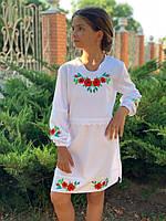 """Платье на девочку """"Вышиванка"""" крестиком ткань рубашка на рост 122-140 см"""