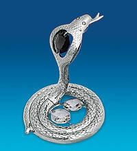 Металлическая статуэтка Кобры с цветными кристаллами и серебряным напылением Символ года - Змея