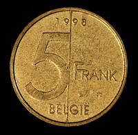 Монета Бельгии 5 франков 1998 г.