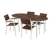 VINDALSÖ Стол+4 стула с подлокотниками