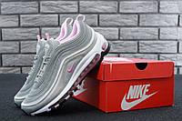 Кроссовки женские Nike Air Max 97 реплика ААА+ размер 37-40 серый/розовый (живые фото), фото 1