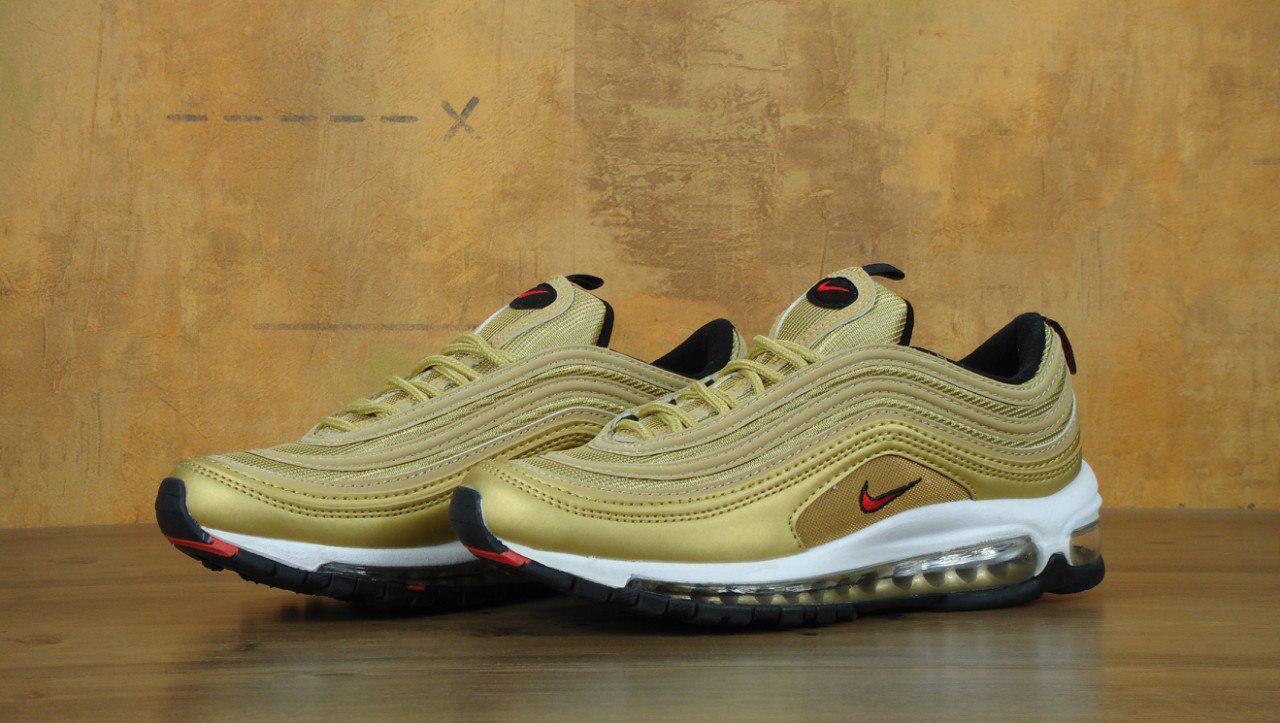Кроссовки Nike Air Max 97 реплика ААА+ размер 36,45 золотистый (живые фото), фото 1