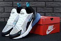 Кроссовки Nike Air Max 270 реплика ААА+ размер 41-45 белый/черный (живые фото), фото 1