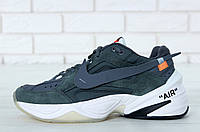 Кроссовки мужские Off-White x Nike M2K Tekno реплика ААА+ (натуральная замша) размер 44 серый (живые фото), фото 1