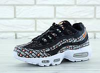 """Кроссовки мужские Nike Air Max 95 """"Just Do It"""" реплика ААА+ размер 41-45 черный (живые фото), фото 1"""
