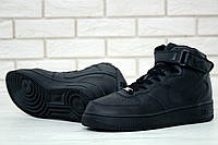 Кроссовки Nike Air Force реплика ААА+ (натуральная кожа) размер 41 черный, фото 1
