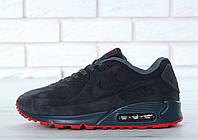 Зимние мужские кроссовки Nike Air Max 90VT Fur реплика ААА+ (нат. замша с мехом) р. 40-46 серый (живые фото), фото 1