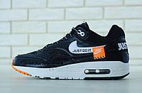 """Кроссовки мужские Nike Air Max 1 """"Just Do It"""" реплика ААА+ (нат. кожа) р. 41-45 черный (живые фото), фото 1"""
