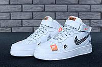 Кроссовки мужские Nike Air Force 1 Hi Just Do It реплика ААА+ (нат. кожа) р. 40-45 белый (живые фото), фото 1