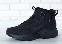 Зимние кроссовки мужские Nike Huarache X Acronym City с мехом реплика ААА+ р. 40-45 черный (живые фото), фото 1