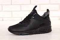 Зимние кроссовки мужские Nike Air Max 90 Mid Winter термо, реплика ААА+ р. 42-45 черный (живые фото), фото 1
