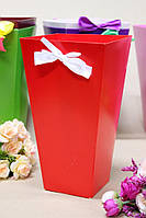 Коробка для цветов трапеция большая УП 9,5*15*26,5см 10шт/уп - Красная