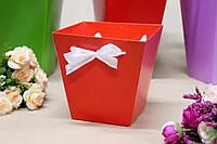 Коробка для цветов трапеция малая УП 10*15*15см 10шт/уп - Красная