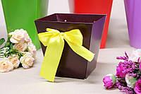 Коробка для цветов трапеция малая УП 10*15*15см 10шт/уп - Шоколадная