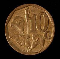 Монета Южной Африки 10 центов 1998 г.