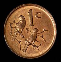 Монета Южной Африки 1 цент 1980 г.