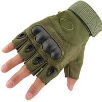 Тактические беспалые перчаткиOakley темно-зеленые