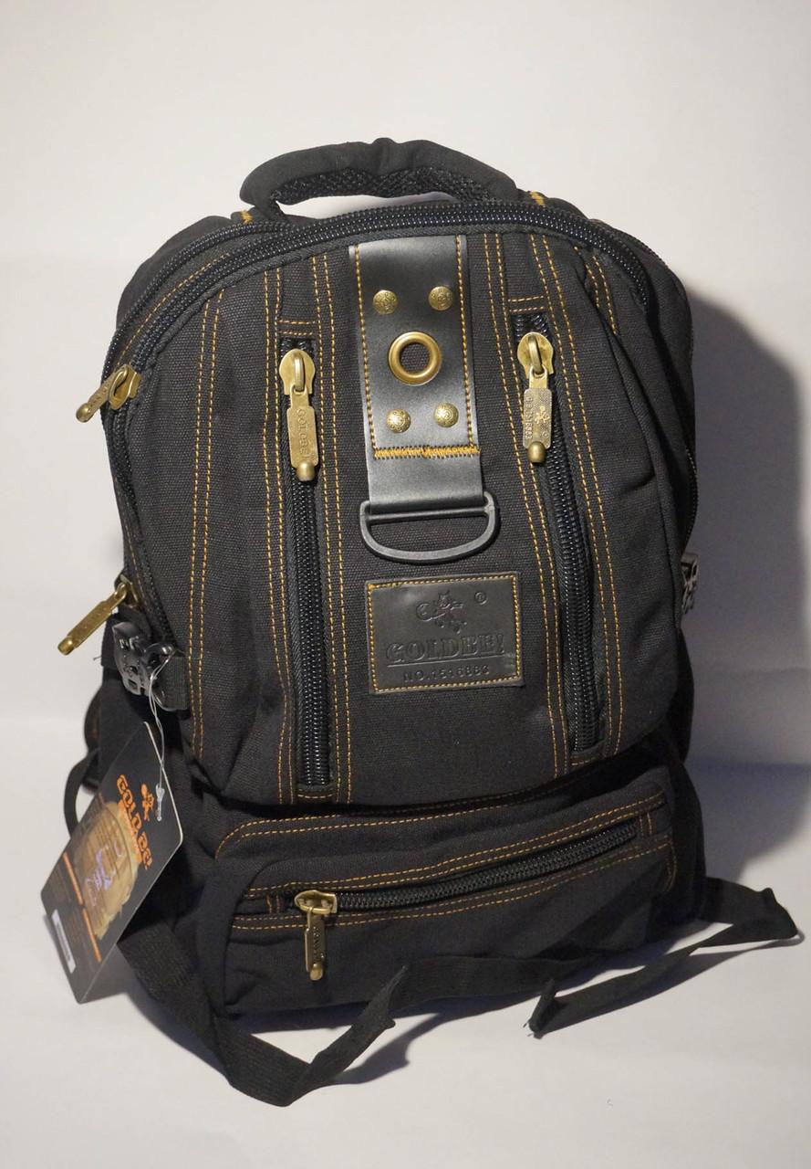 Брезентовый городской рюкзак черного цвета