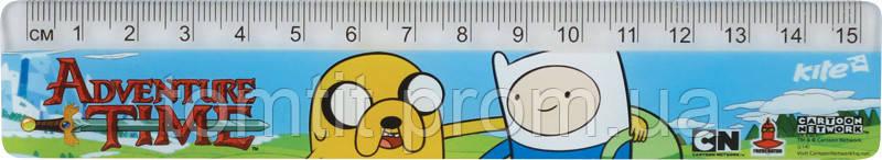 """Линейка пластиковая """"Adventure Time"""", 15 см"""