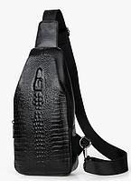 Мужская сумка через плечо Realer Alligator Черная