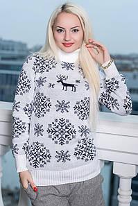 """Стильный женский вязанный свитер-гольф """"Олень Снежинки"""" (DG-в52)"""