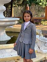 Пиджак для подростка с волнами 140-158р. синий, черный, серый