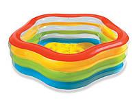Детский надувной пятиугольный бассейн «Морская звезда» Intex 56495 (185x180x53 см) КК