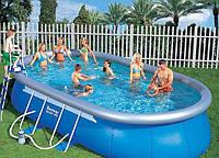 Овальный бассейн INTEX 28194 (54934) каркасный надувной OVAL FRAME POOL 610*366*122 cм + тент + лестница+насос