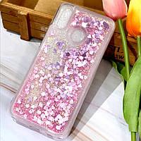 Чехол Glitter для Samsung Galaxy A20 2019 / A205F бампер Жидкий блеск Сердце Розовый, фото 1
