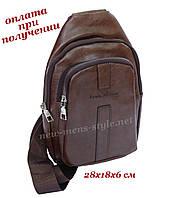 Мужская чоловіча спортивная кожаная сумка слинг рюкзак бананка Levis A Camp, фото 1