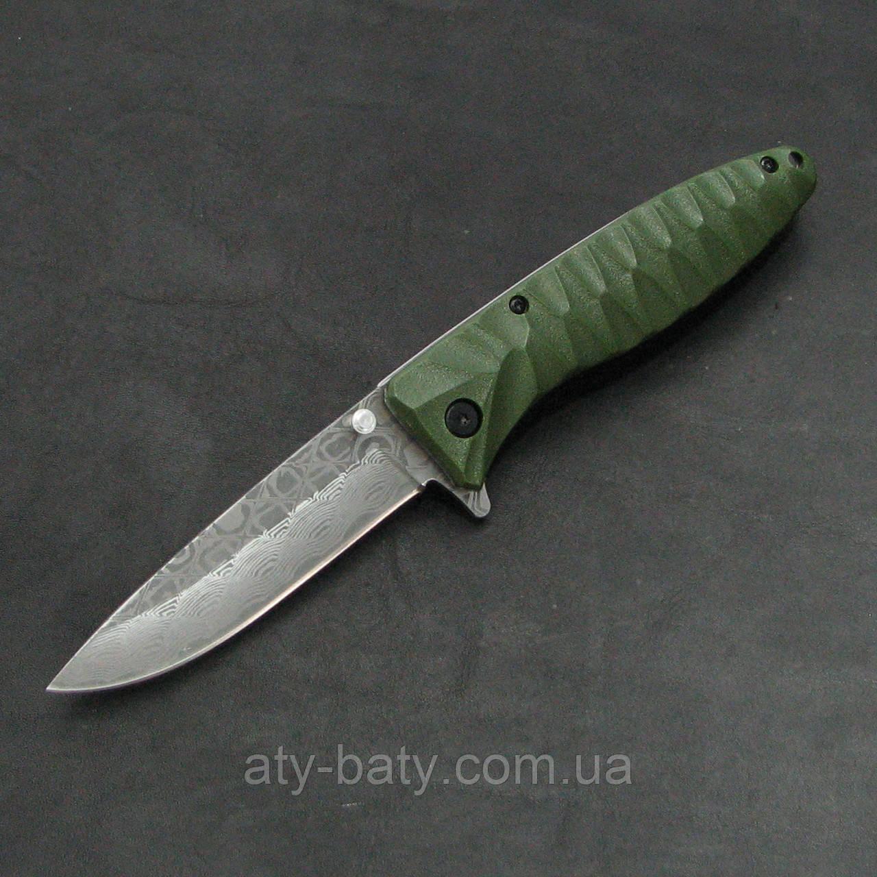 Складной нож Ganzo G620g-2, зеленый с травлением