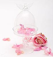 """Стеклянная бонбоньерка """"Ангел"""", диаметр 11см., высота 22см."""