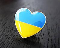 Значок сердце Украины - желто-синий значок сердечко, фото 1
