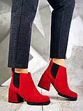 Шикарные кожаные и замшевые красные демисезонные женские ботинки на каблуке, фото 2
