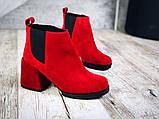 Шикарные кожаные и замшевые красные демисезонные женские ботинки на каблуке, фото 5