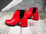 Шикарные кожаные и замшевые красные демисезонные женские ботинки на каблуке, фото 8