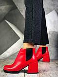 Шикарные кожаные и замшевые красные демисезонные женские ботинки на каблуке, фото 9