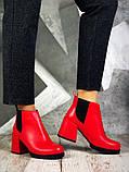 Шикарные кожаные и замшевые красные демисезонные женские ботинки на каблуке, фото 7